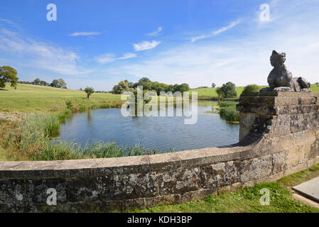 Quintessential English Landscape or Capability Brown Landscape, Lake and Bridge at Compton Verney House, Warwickshire, - Stock Photo
