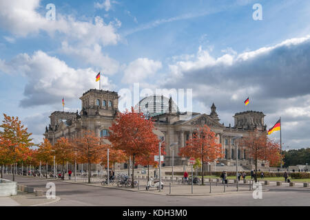 Berlin, Germany - October 2017: The Reichstag building, the german house of parliament, on a sunny autumn day in - Stock Photo