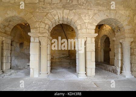 Chapel of Saint Peter (c11th) Saint Peter's Hermitage, Montmajour Abbey, near Arles, Provence, France - Stock Photo