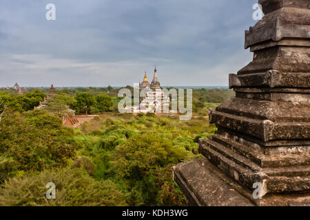 An aerial view of Ngakywenadaung and Ananda Temple (behind), Old Bagan, Myanmar - Stock Photo