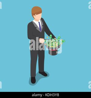 Flat 3d isometric businessman use a magic trick to making money from hat. - Stock Photo