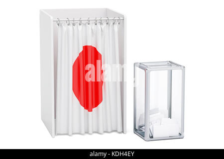 Japanese election concept, ballot box and voting booths with flag of Japan, 3D rendering - Stock Photo