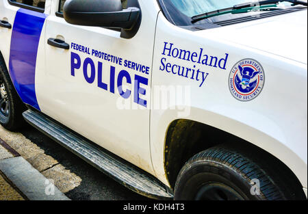 Detail of a Homeland Security Federal Protective Service Police car in Washington, DC, USA - Stock Photo