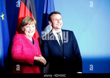 BKin Angela Merkel, Emmanuel Macron - Treffen der dt. Bundeskanzlerin mit den neuen franzoesischen Staatspraesidenten, - Stock Photo