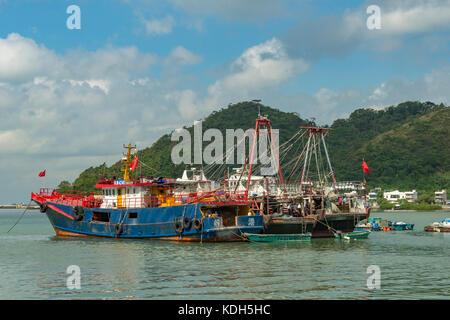 Old Fishing Boats, Tai O Fishing Village, Lantau Island, Hong Kong, China - Stock Photo