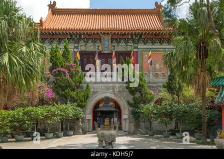 First Hall, Po Lin Monastery, Lantau Island, Hong Kong, China - Stock Photo