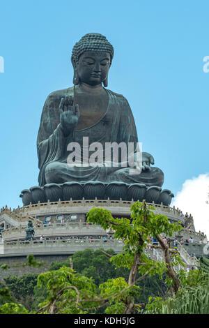 Giant Bronze Buddha, Ngong Ping, Lantau Island, Hong Kong, China - Stock Photo