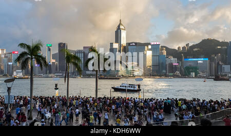 Tsim Sha Tsui, Kowloon, Hong Kong - October 2, 2017 :  Crowded people waiting National Day Fireworks Display in - Stock Photo