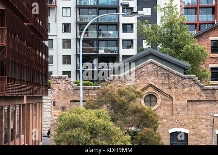 A combination of old and new accommodation types in Pyrmont, Sydney, Australia - Stock Photo