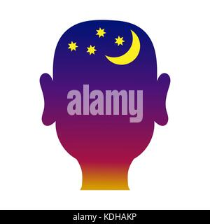 Mans head outline with night background - Stock Photo