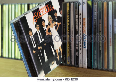 Parallel Lines, Blondie 3rd CD pulled out from among other CD's on a shelf, Dorset, England - Stock Photo