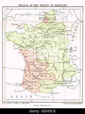 Map of France after the treaty of Bretigny, 8 May 1360 - Stock Photo