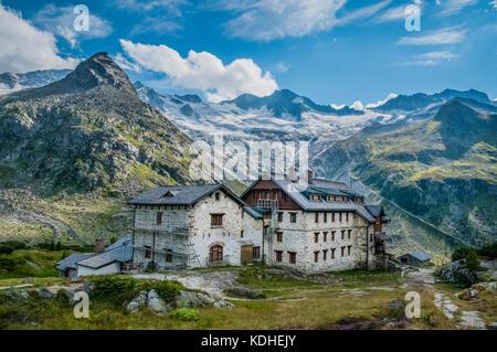 The  Berliner   Hut mountain refuge in the Zillertal Alps - Stock Photo