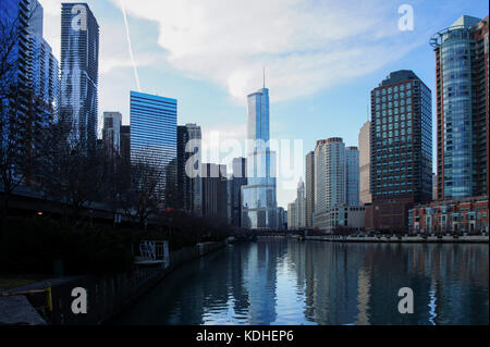 Trump International Hotel & Tower and river scene at Chicago, Illinois, United States - Stock Photo
