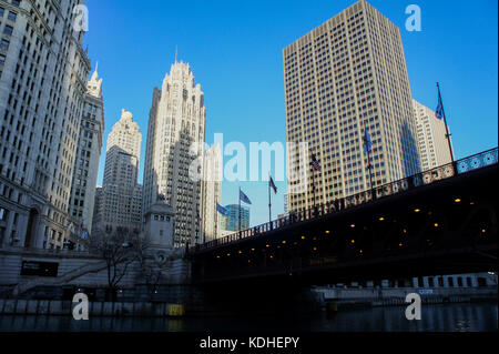 The historical Tribune Tower at Chicago, Illinois, United States - Stock Photo