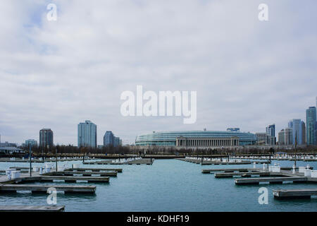 The beautiful DuSable Harbor at Millennium Park, Chicago, Illinois, United States - Stock Photo