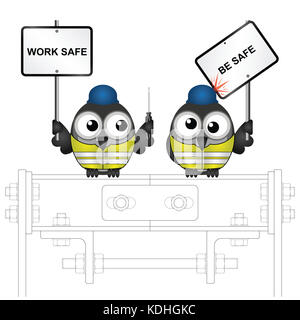 Comical construction workers with health and safety work safe be safe message perched on steelwork - Stock Photo