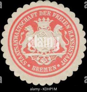 Siegelmarke Staatsanwaltschaft der Freien Hansestadt Bremen W0355893 - Stock Photo
