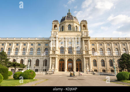 VIENNA, AUSTRIA - AUGUST 28: Tourists at the art history museum at the Maria-Theresien-Platz square in Vienna, Austria - Stock Photo