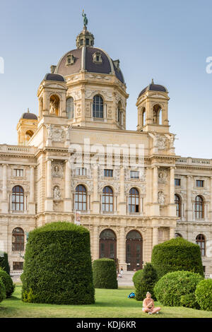 VIENNA, AUSTRIA - AUGUST 28: Tourists at the natural history museum at the Maria-Theresien-Platz square in Vienna, - Stock Photo