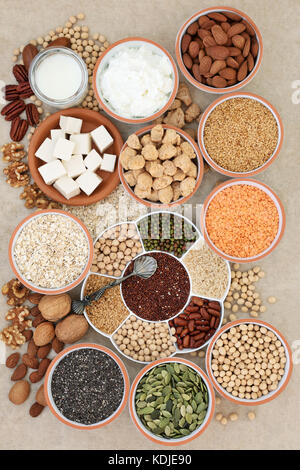 Health food for vegans with tofu, legumes, nuts, seeds, cereals, soya yoghurt, milk and chunks with foods high in - Stock Photo