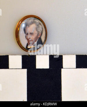 Miniature Portrait of Andrew Jackson given to Elizabeth Linn by Silas Wright, Jr - Stock Photo