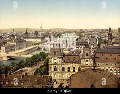 Panorama of the seven bridges, Paris, France, ca. 1890 1900 - Stock Photo