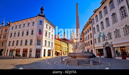 City of Ljubljana old cobbled center street, capital of Slovenia - Stock Photo
