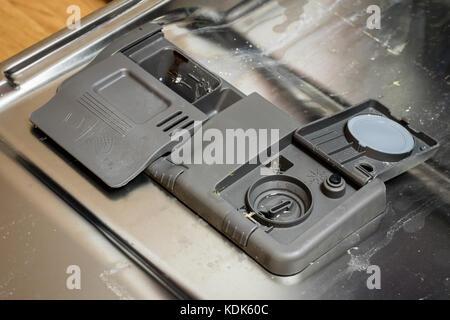 how to put dishwashing tablet in dishwasher