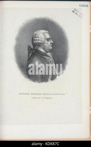 Norborne Berkeley, Baron de Bottetourt (sic), Governor of Virginia (NYPL Hades 256600 EM14924) - Stock Photo