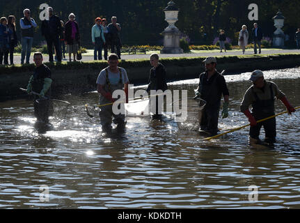 Munich, Germany. 14th Oct, 2017. Fisherman standing during the traditional fishing out in the Nymphenburger canal - Stock Photo