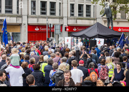 Cardiff, Wales, UK, October 14th 2017. Wales Rally For Europe at the Aneurin Bevan statue in Cardiff city centre. - Stock Photo
