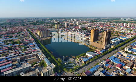 Beijing, China. 21st Apr, 2017. File photo taken on April 21, 2017 shows the scenery of the county seat of Xiongxian, - Stock Photo