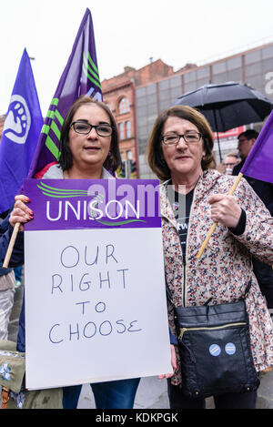 Belfast, Northern Ireland. 14/10/2017 - Rally For Choice hold a parade in support of pro-choice abortion rights - Stock Photo
