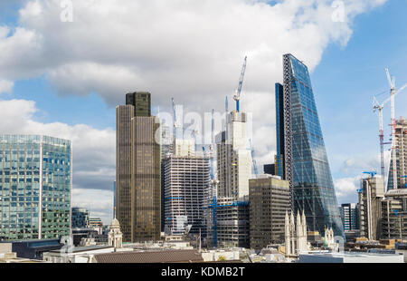 View of new construction in the financial district of the City of London with iconic tall modern skyscrapers including - Stock Photo