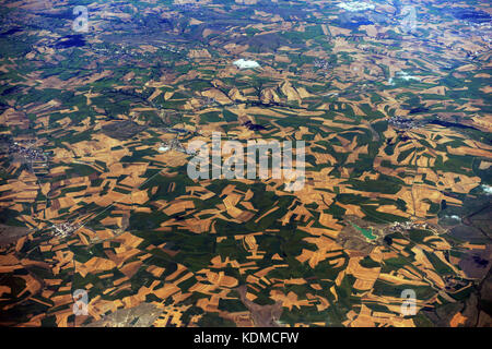 Aerial view of agricultural fields in the Thrace region of Turkey. - Stock Photo
