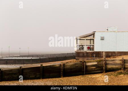 Café on Beach Adjacent to Esplanade at Westcliff-on-Sea on a Dull Autumn Morning - Stock Photo