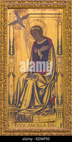 LONDON, GREAT BRITAIN - SEPTEMBER 14, 2017: The Virgin Mary as the right part of Annunciation painting on the wood - Stock Photo
