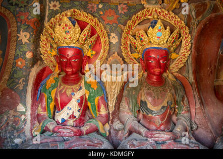 Inside Chapel in Kumbum Stupa at Palcho Monastery, Gyantse, Tibet, China - Stock Photo