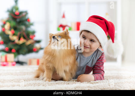 Happy child boy enjoying playing with new puppy at christmas. - Stock Photo