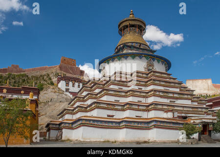 Kumbum Stupa at Palcho Monastery, Gyantse, Tibet, China - Stock Photo
