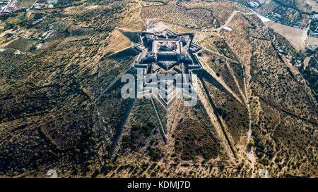 Forte da Graca, Elvas,  Alentejo, Portugal, (Bastion fort or star fort) - Stock Photo
