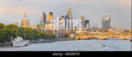 London - The evening panorama of the City with the skyscrapers in the center. - Stock Photo