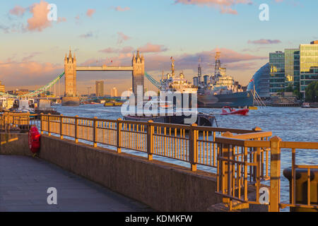 London - The Tower bridge and riverside in evening light. - Stock Photo