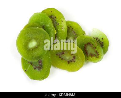 Group of dried kiwi fruit isolated on white background - Stock Photo