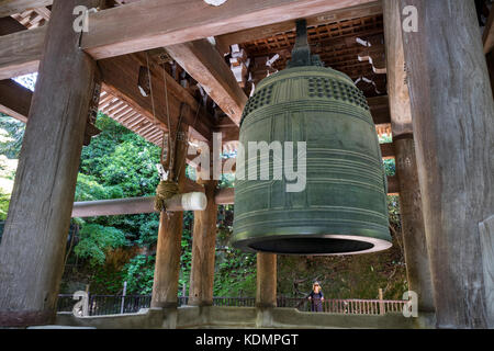 Kyoto, Japan - May 19, 2017:  Japan's largest ancient temple bell, located at Chion-in - Stock Photo