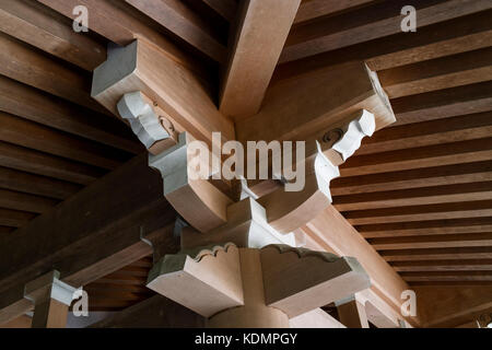 Kyoto, Japan - May 19, 2017: Traditional wooden roof construction in the Chion in temple - Stock Photo