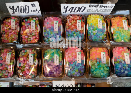 Kyoto, Japan - May 19, 2017: Trays with multi colored variety of candy in the shop - Stock Photo