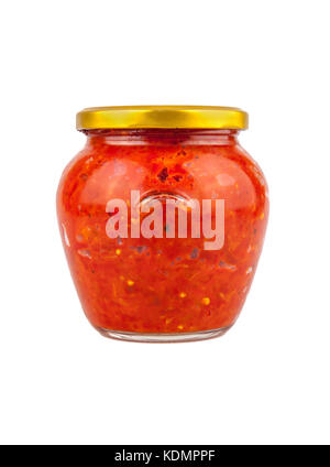 Ajvar - traditional macedonian serbian dish made from red bell peppers, eggplant and garlic, lutenitza, popular - Stock Photo