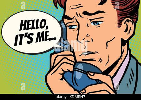 Pop art man talking on the phone Hello it is me. Comic book cartoon pop art retro Illustrator vector drawing - Stock Photo